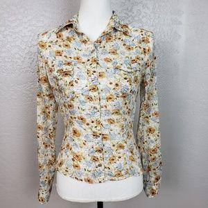 Vince Snap Front Cotton Floral Shirt Size 4